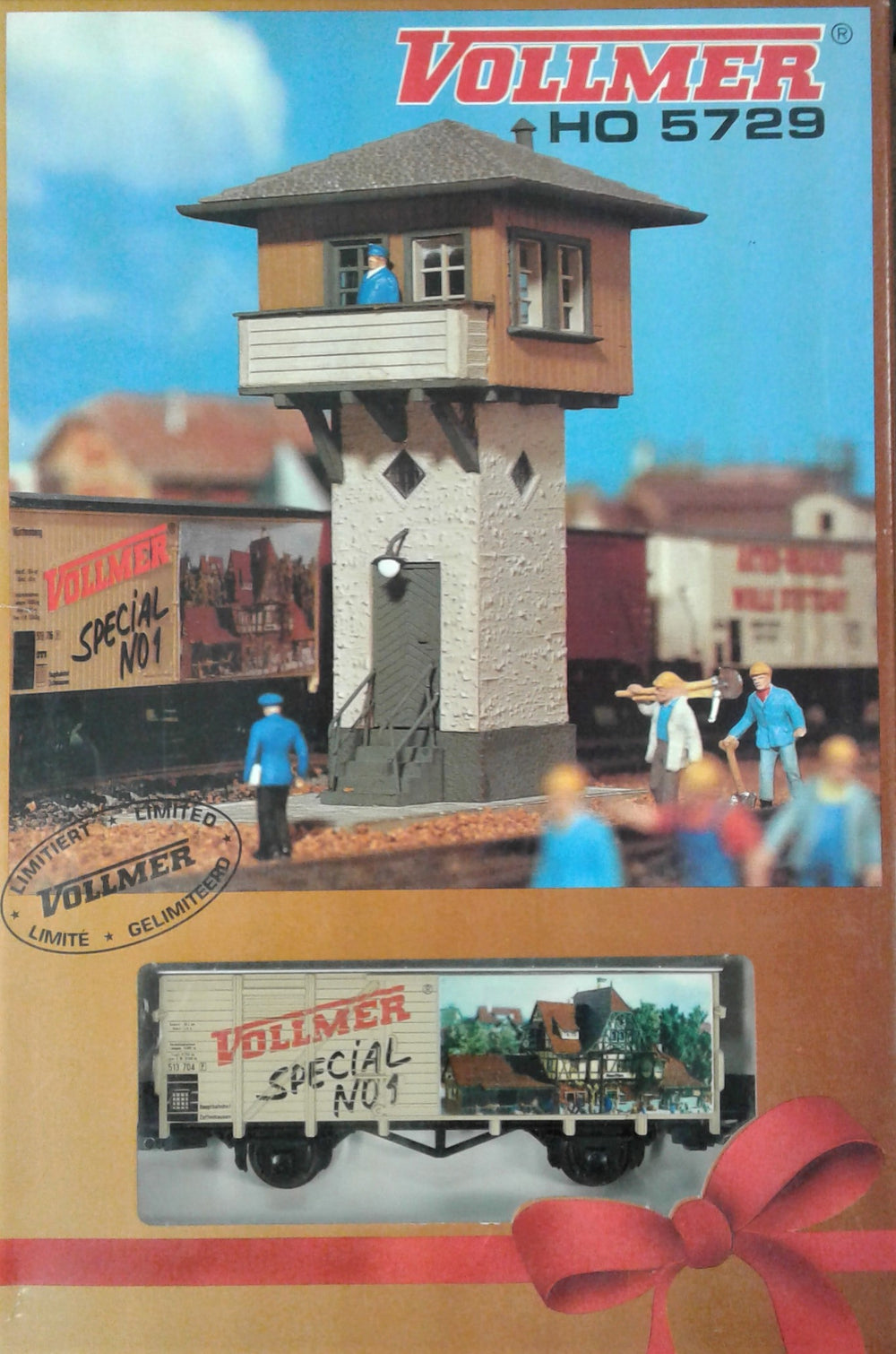 VOLLMER # 5729 - Special - Signal Box with Vollmer Wagon - HO Scale Kit