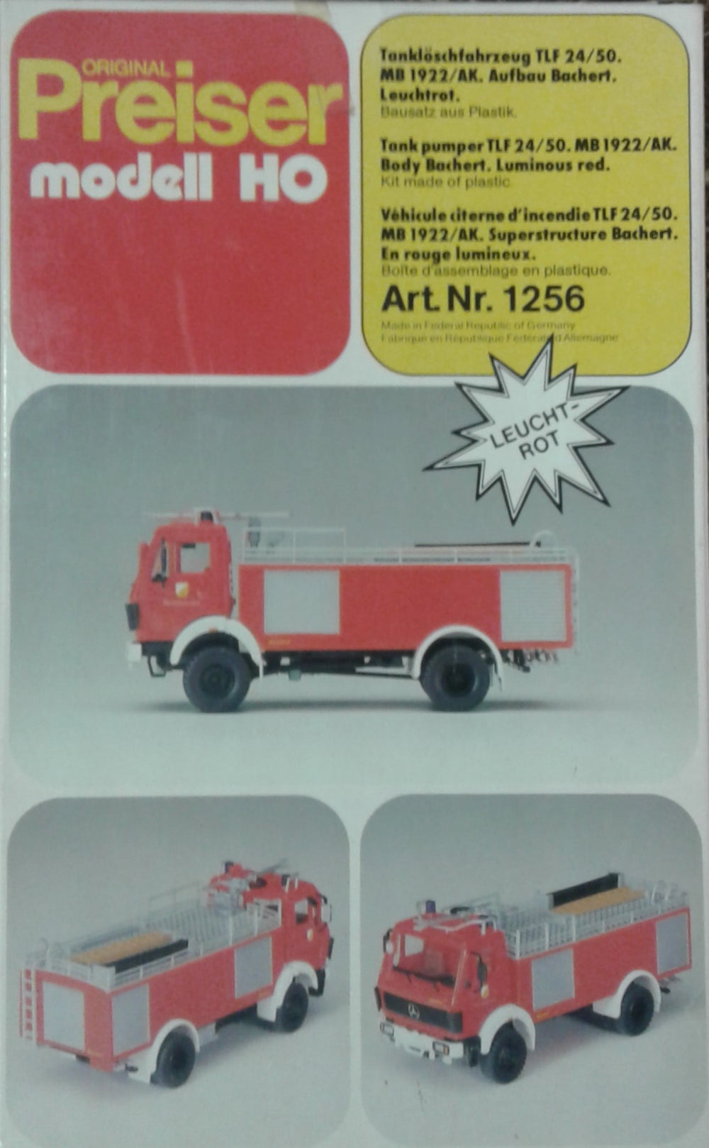 PREISER # 1256 - FIRE VEHICLE -  HO SCALE
