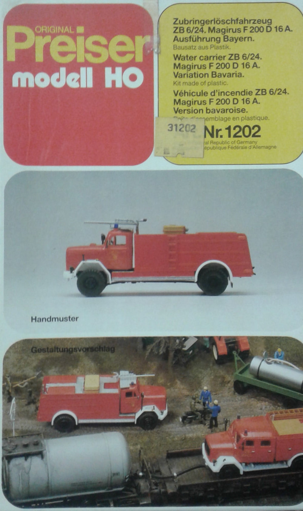 PREISER # 1202 - FIRE VEHICLE -  HO SCALE