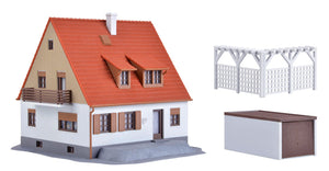 KIBRI # 38748 -  Family house with terrace, garage and pergola - HO scale Kit