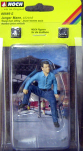 "NOCH # 68569 - G SCALE FIGURE ""YOUNG MAN SITTING"""