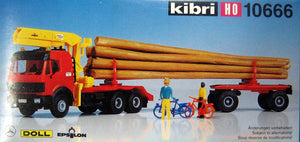 KIBRI # 10666 - LOG TRUCK WITH LOADING CRANE - HO Scale