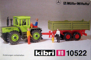 KIBRI # 10522 - FARM TRACTOR WITH TRAILER - HO Scale