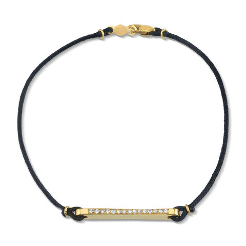 Linked Bar with Diamonds, Bracelet on Cord