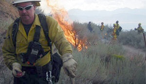 Wildland Firefighter with Kestrel 3000 Meter