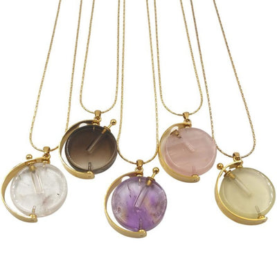 Natural Stone Gold Bezel Whirling pendant Elegant Necklace