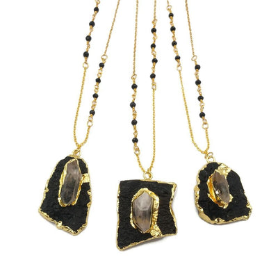 Natural Irregular Shape black Stone Necklace