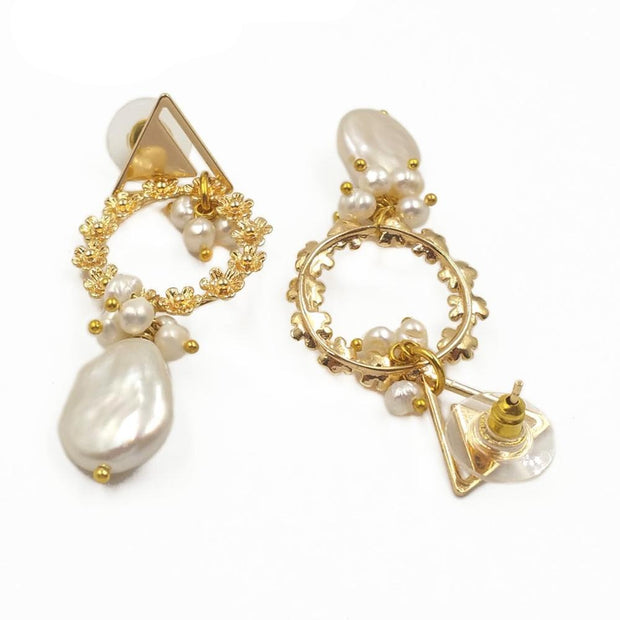 Electroplated wreath earring