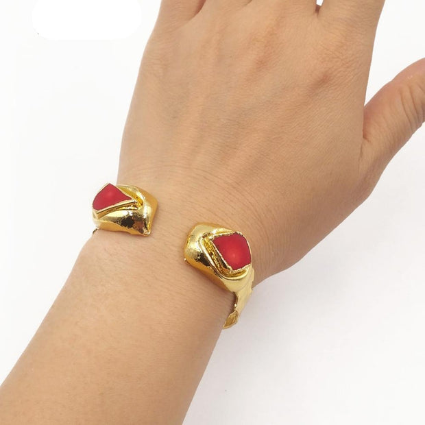 Natural Red Coral Stone with Gold Electroplated Bracelet