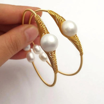 Natural Freshwater Pearl Wire Adjustable Bangle