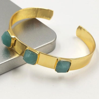 Gold Polish Brass Amazonite Natural Stone Bangle