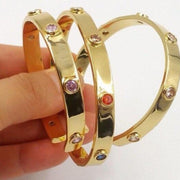 CZ Natural Stone Gold Bangle