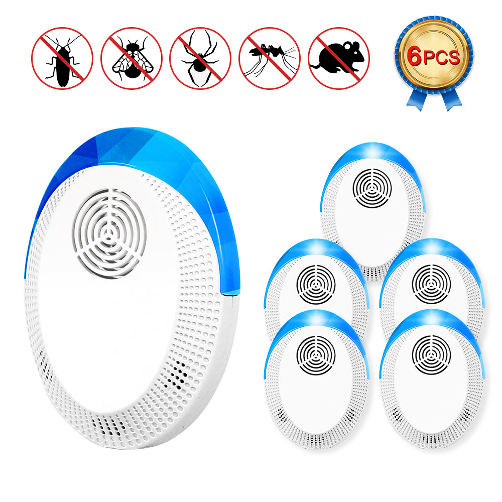 LIANTRAL Ultrasonic Pest Repeller 6 Pack, 2020 Upgrade Electronic Indoor Insects & Rodents Repellent Plug in for Mice, Bats, Spiders, Ants, Mosquitoes, Bees, Safe for Human and Pet