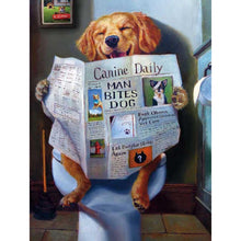 Load image into Gallery viewer, Dog Reading Newspaper DIY Full Drill Diamond Painting