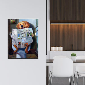 Dog Reading Newspaper DIY Full Drill Diamond Painting