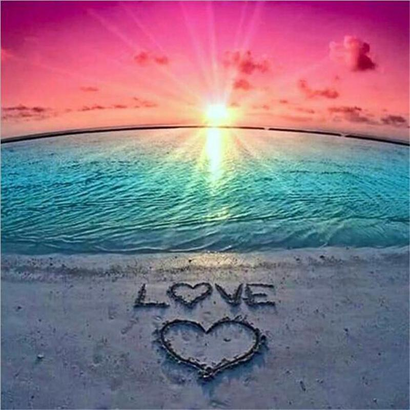 Love Beach 5D DIY Full Drill Diamond Painting