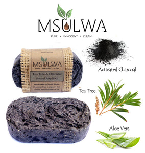 Tea Tree & Charcoal - Natural Soap Rock - Msulwa Onine Store. Pure, Innocent, Clean. Products that are Eco-friendly, organic, sustainable, healthy, natural, vegan, biodgradable, zero waste, eco packaging. South Africa & Worldwide