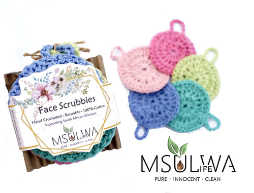 Face Scrubbies - Pack of 5 Colours - Msulwa Onine Store. Pure, Innocent, Clean. Products that are Eco-friendly, organic, sustainable, healthy, natural, vegan, biodgradable, zero waste, eco packaging. South Africa & Worldwide