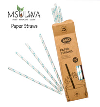 Load image into Gallery viewer, Paper Straws (50 per Box) - Msulwa Onine Store. Pure, Innocent, Clean. Products that are Eco-friendly, organic, sustainable, healthy, natural, vegan, biodgradable, zero waste, eco packaging. South Africa & Worldwide