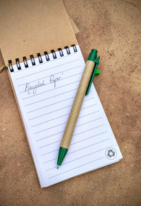 Recycled Paper Notepad & Pen (A5) - Msulwa Onine Store. Pure, Innocent, Clean. Products that are Eco-friendly, organic, sustainable, healthy, natural, vegan, biodgradable, zero waste, eco packaging. South Africa & Worldwide