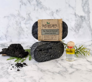 Tea Tree & Charcoal - Natural Soap Rock - Msulwa Life