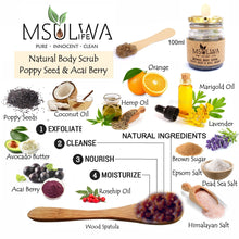Load image into Gallery viewer, Natural Body Scrub - Poppy Seed & Acai Berry - Msulwa Onine Store. Pure, Innocent, Clean. Products that are Eco-friendly, organic, sustainable, healthy, natural, vegan, biodgradable, zero waste, eco packaging. South Africa & Worldwide
