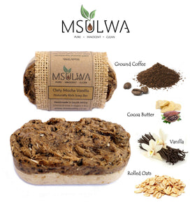 Oaty Mocha Vanilla-Naturally Rich Soap Bar - Msulwa Onine Store. Pure, Innocent, Clean. Products that are Eco-friendly, organic, sustainable, healthy, natural, vegan, biodgradable, zero waste, eco packaging. South Africa & Worldwide