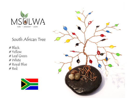 Msulwa Tree- Country Flag Colours - Msulwa Onine Store. Pure, Innocent, Clean. Products that are Eco-friendly, organic, sustainable, healthy, natural, vegan, biodgradable, zero waste, eco packaging. South Africa & Worldwide
