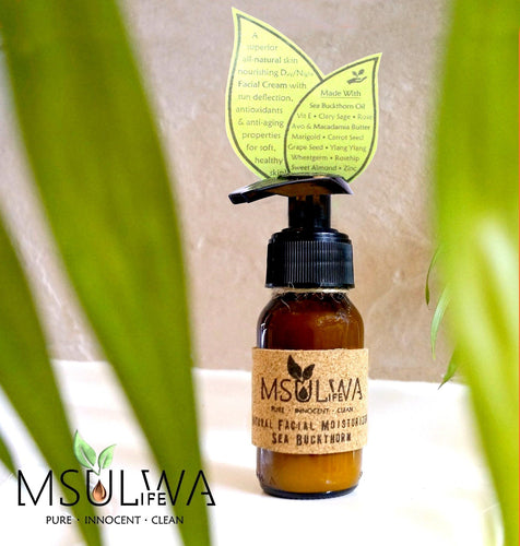 Natural Facial Moisturizer - Sea Buckthorn - Msulwa Onine Store. Pure, Innocent, Clean. Products that are Eco-friendly, organic, sustainable, healthy, natural, vegan, biodgradable, zero waste, eco packaging. South Africa & Worldwide