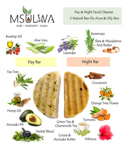 Natural Day & Night Facial Cleansing Bars - Msulwa Onine Store. Pure, Innocent, Clean. Products that are Eco-friendly, organic, sustainable, healthy, natural, vegan, biodgradable, zero waste, eco packaging. South Africa & Worldwide
