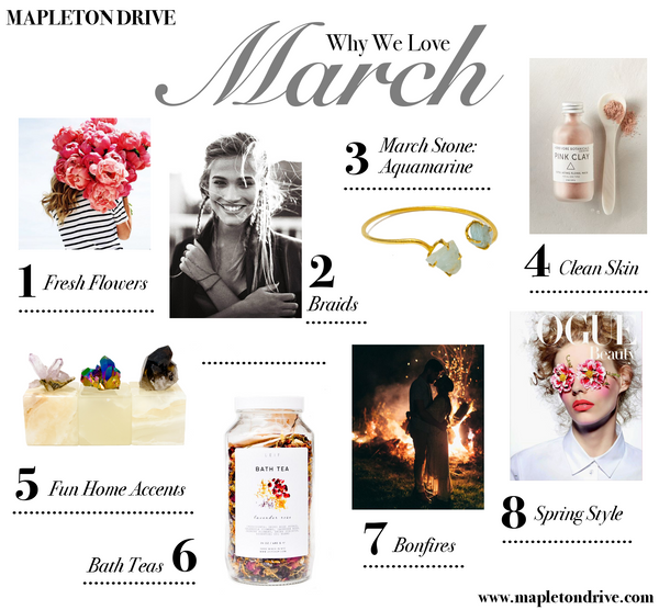 march favorites, march, lifestyle, style, mapleton drive, favorites, bath tea, vogue, bonfire, flowers, aquamarine, march stone, aquamarine cuff