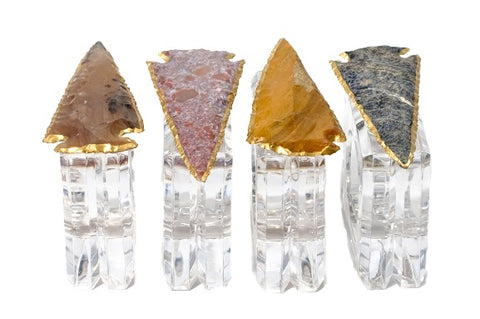 mapleton drive, style at home, home decor, entertaining, agate arrowhead napkin rings, napkin rings