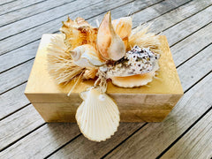 Large Gold Lacquer Box with Seashell Motif