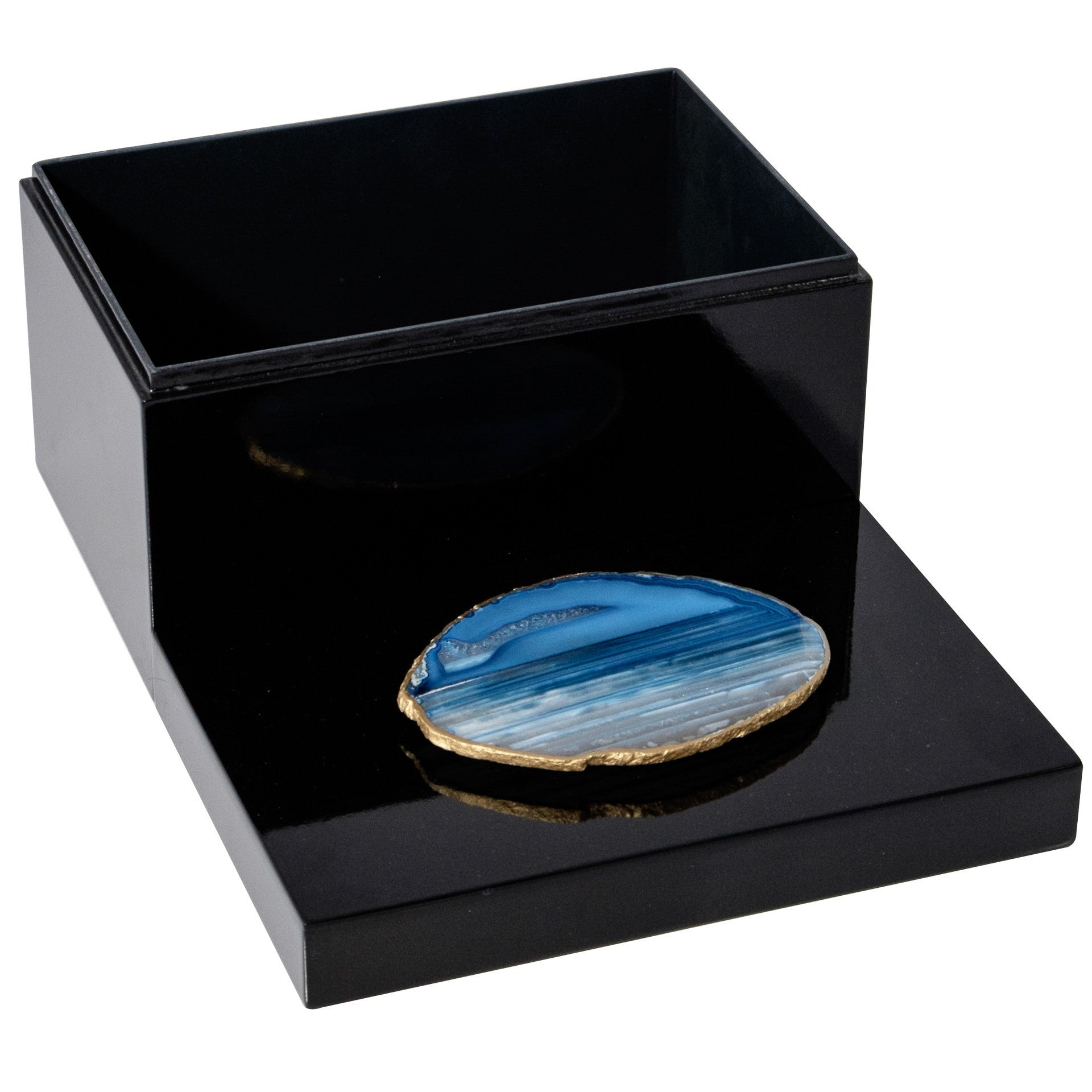 Remote Black Lacquer with Blue Agate