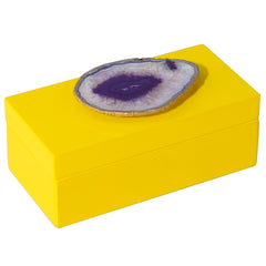 Medium Yellow Lacquer Box with Purple Agate