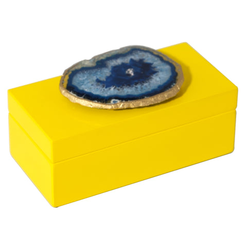Medium Yellow Lacquer Box with Blue Agate