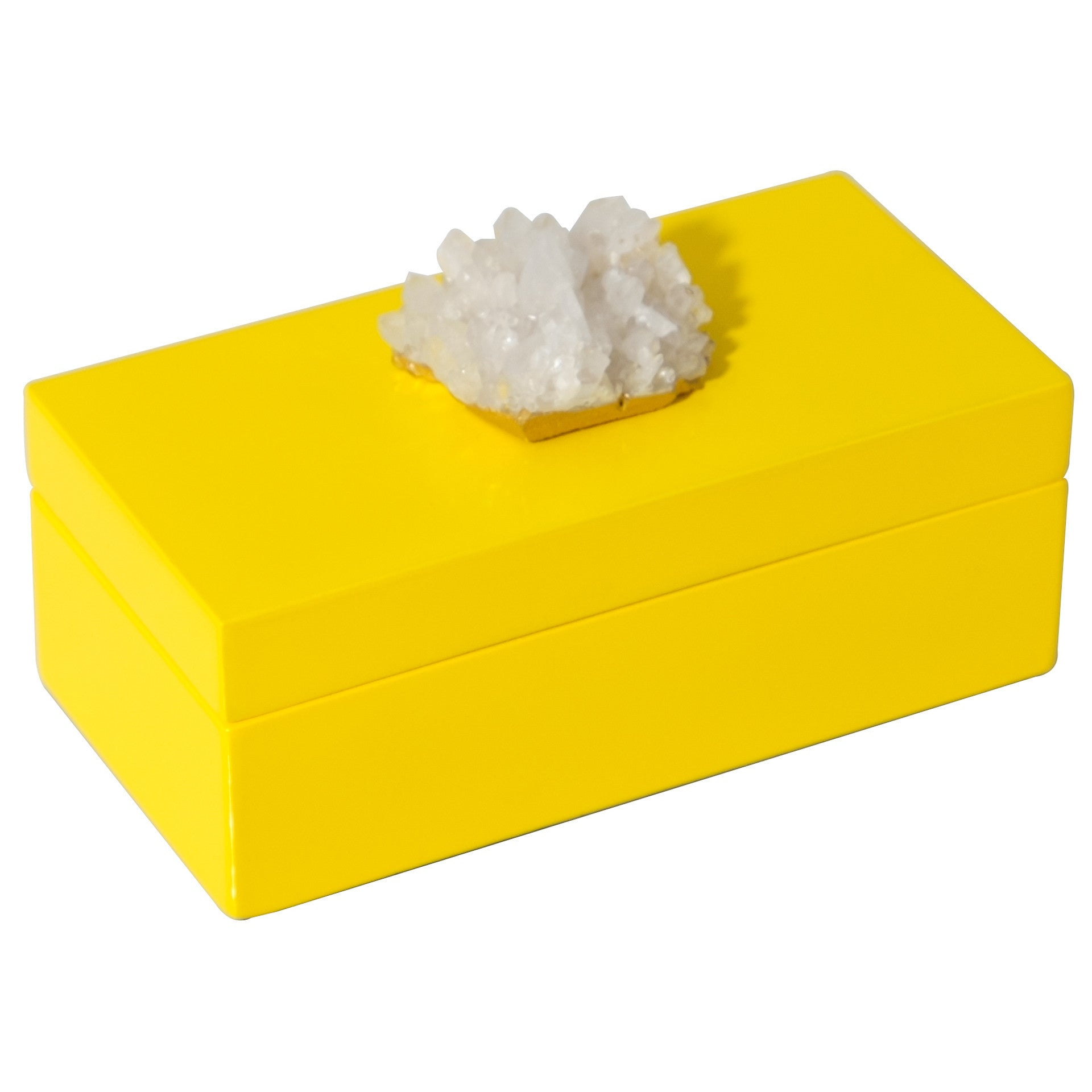 Medium Yellow Lacquer Box with Himalayan Crystal