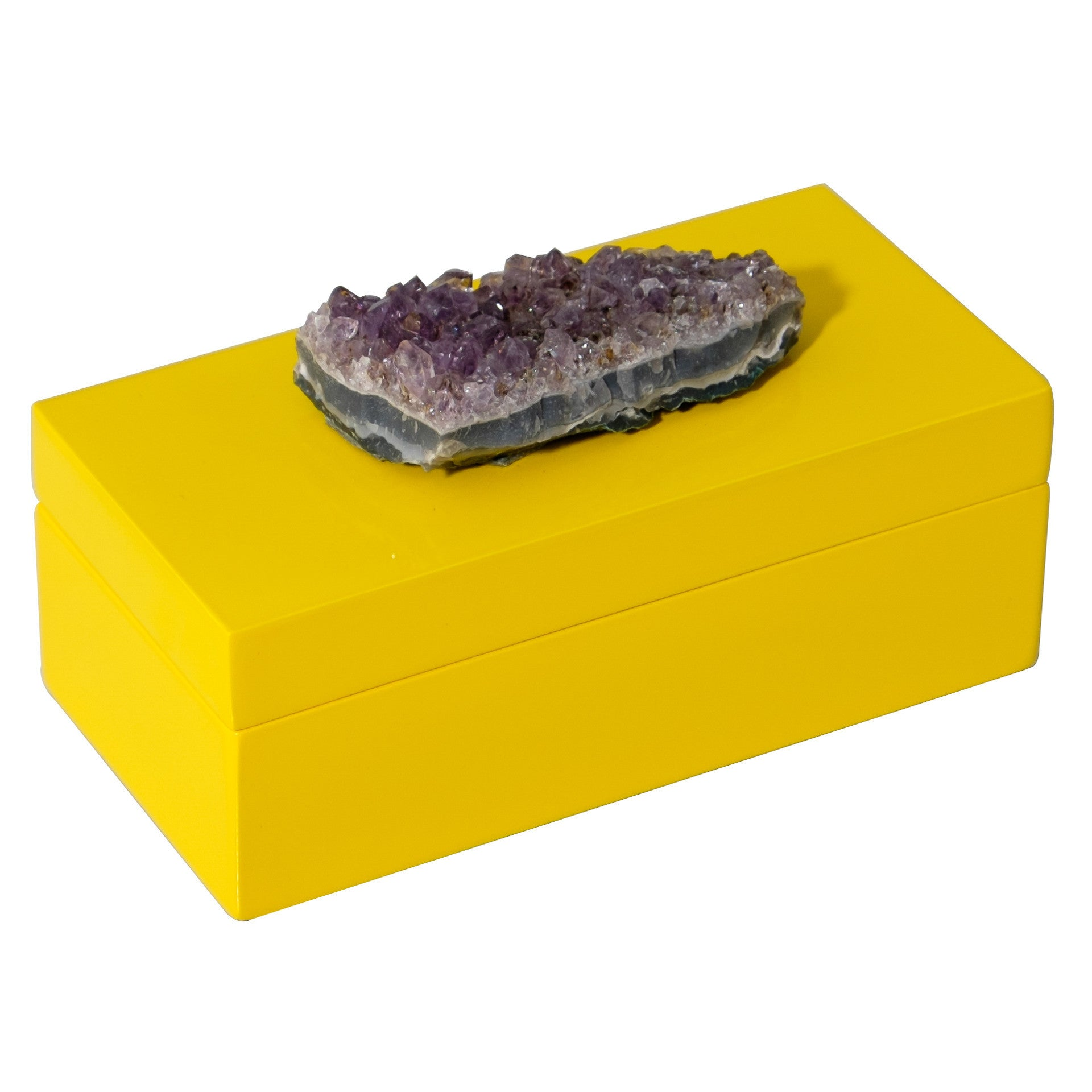 Medium Yellow Lacquer Box with Amethyst