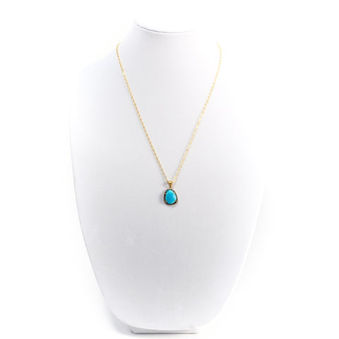 Turquoise Chalcedony Slice Necklace