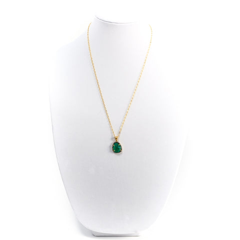 Green Chalcedony Slice Necklace