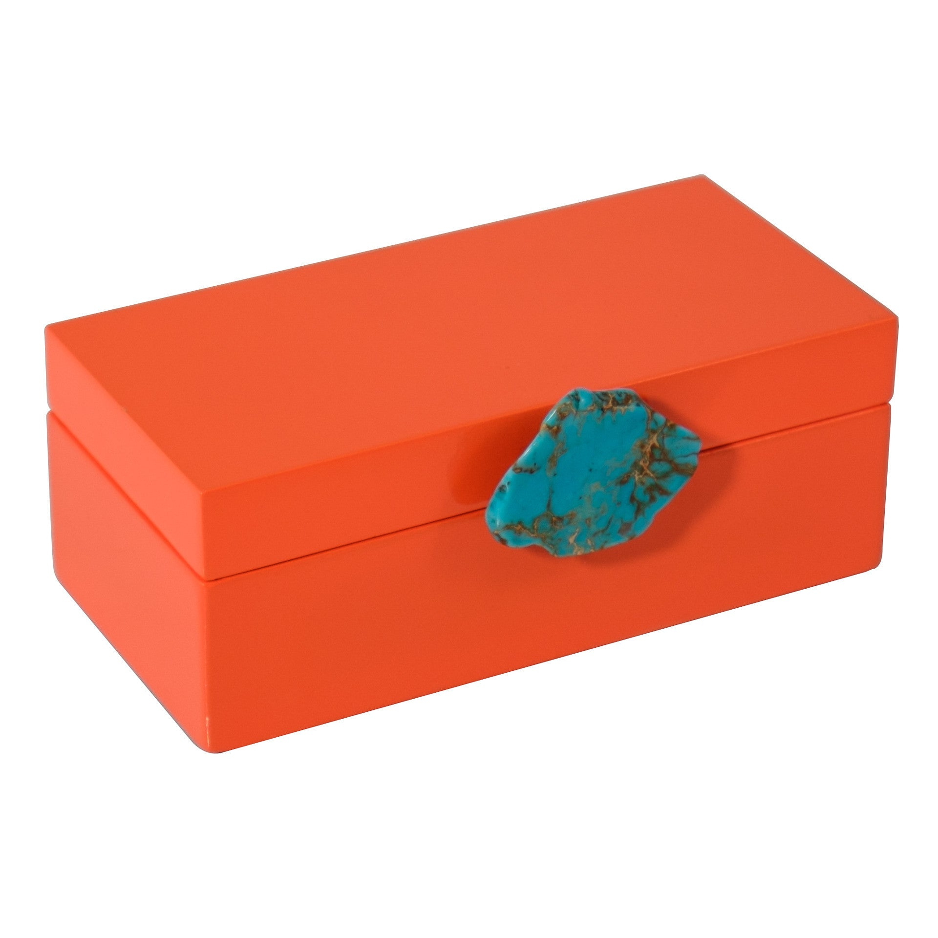 Medium Orange Lacquer Box with Turquoise Jasper Knob