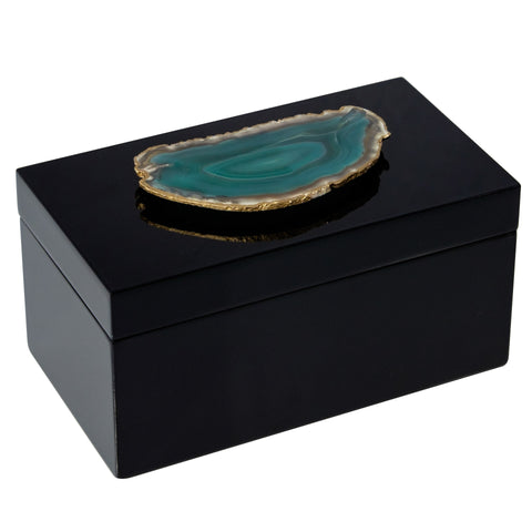 Large Black Lacquer Box with Green Agate