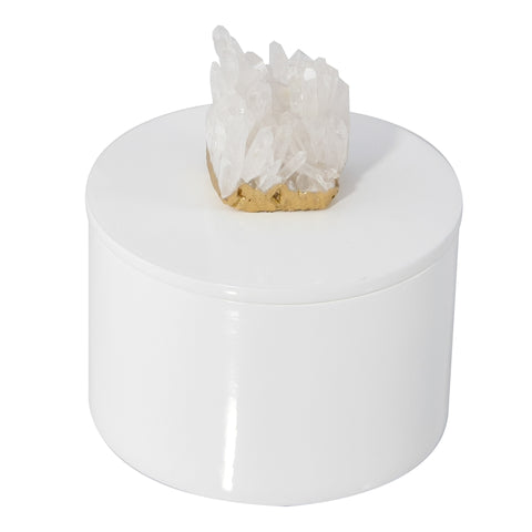 Round White Lacquer Box with Himalayan Crystal