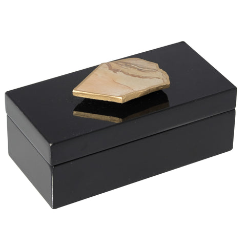 Medium Black Lacquer Box with Agate slab