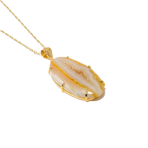Autumn Yellow Druzy Agate Pronged Necklace