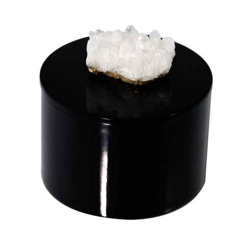 Round Black Lacquer Box with Himalayan Crystal