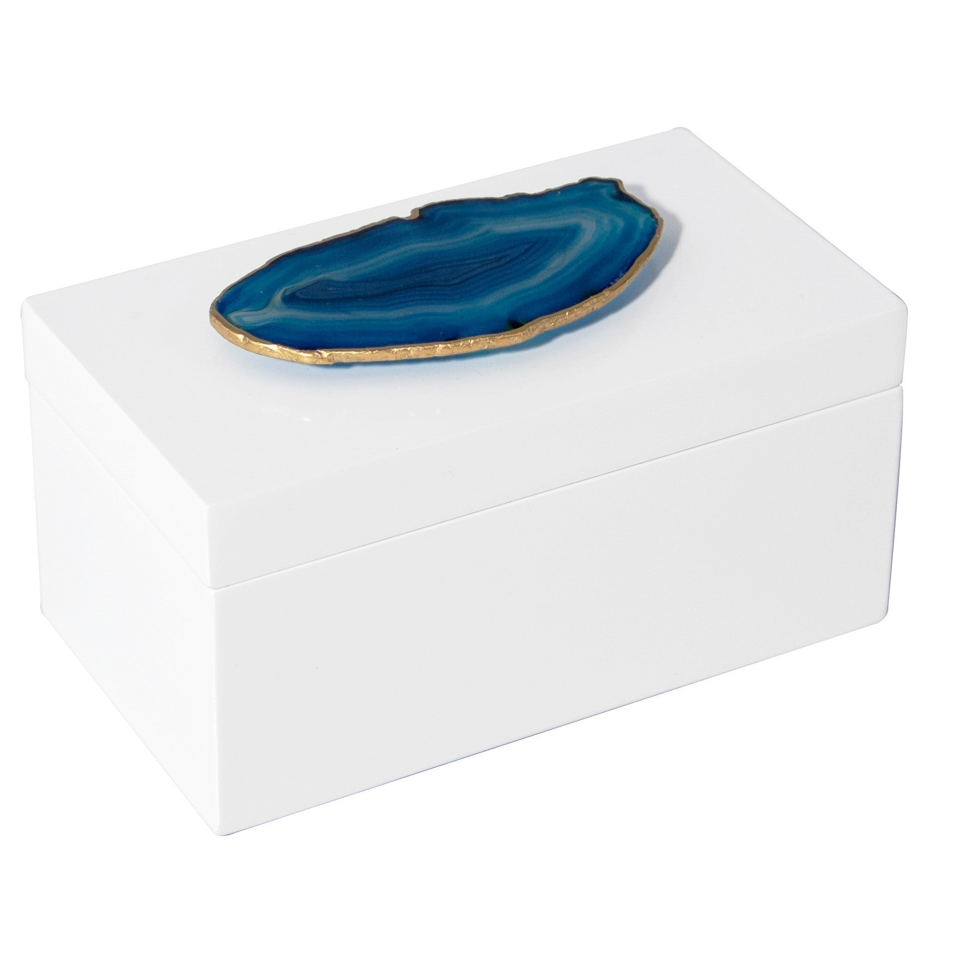 Large White Lacquer Box with Blue Agate