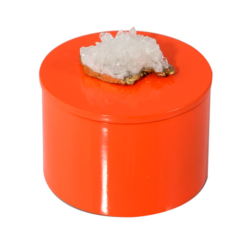 Round Orange Lacquer Box with Himalayan Crystal