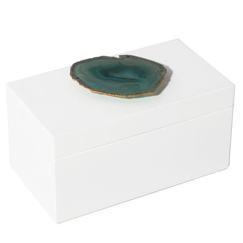 Large White Lacquer Box with Green Agate