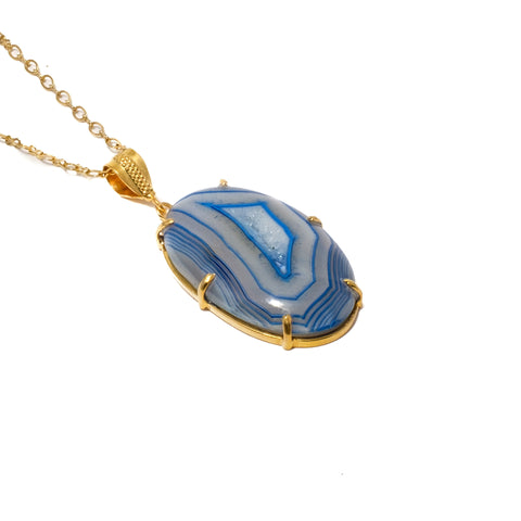 Blue Crazy Agate Necklace in Prong Setting